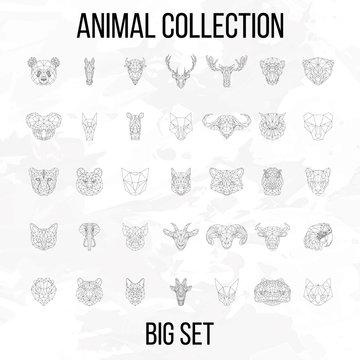 Set of geometric animals head isolated on white background vintage vector design element illustration