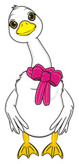 animal, cartoon, white, rubs, farm, bird, goose, long neck, sizzle, wings, quack, stand, pink, bow, ribbon, roll up, gift