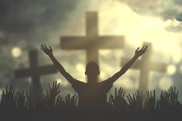 Prayers hand with three cross symbols