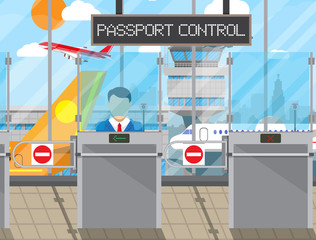Border control concept, immigration officer
