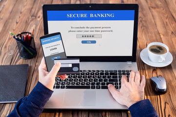 Using One Time Password When Shopping Online, Banking Security Concept