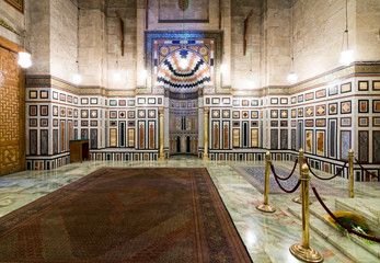 Interior of the tomb of the Reza Shah of Iran, Al Rifaii Mosque (Royal Mosque), located in front the Cairo Citadel, constructed between 1869 and 1912
