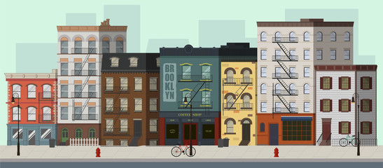 Street landscape with apartment buildings, shops and bars. Flat vector illustration. Fotomurales