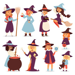 Cute little witch with broom cartoon cat for print on bag magic halloween card and fantasy young girls character in costume hat vector illustration.