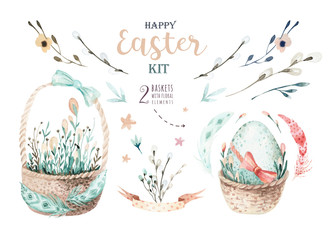 Hand drawing easter watercolor basket with leaves, branches and feathers. indigo Watercolour art illustration in vintage boho style. Greeting bohemian cars.