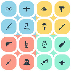 Set Of 16 Simple Battle Icons. Can Be Found Such Elements As Air Bomber, Molotov, Cold Weapon And Other.