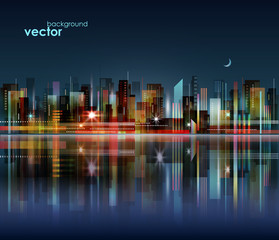 Night city skyline with reflection on water surface, vector illustration