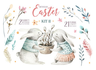 Hand drawing easter watercolor cartoon bunnies with leaves, branches and feathers. indigo Watercolour rabbit art illustration in vintage boho style. Greeting bohemian bunny card.
