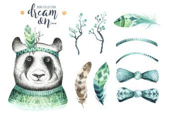 Watercolor panda illustration. Bohemian cute animal. Boho style. Nursary art print. Feathers collection