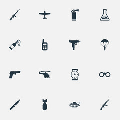 Set Of 16 Simple Army Icons. Can Be Found Such Elements As Extinguisher, Molotov, Air Bomber And Other.
