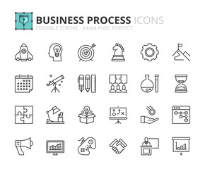 Outline icons about business process