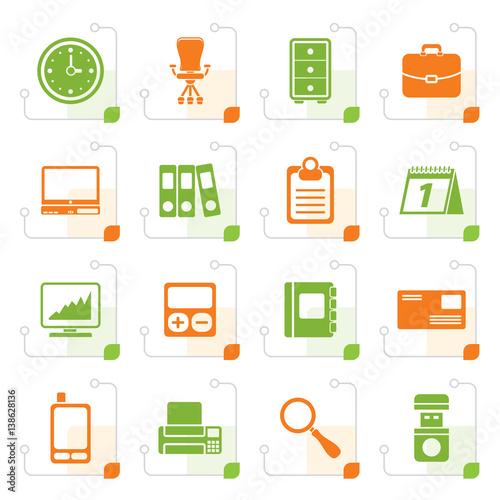 stylized business and office icons vector icon set fichier vectoriel libre de droits sur la. Black Bedroom Furniture Sets. Home Design Ideas