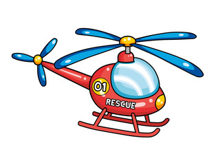 Red rescue helicopter.