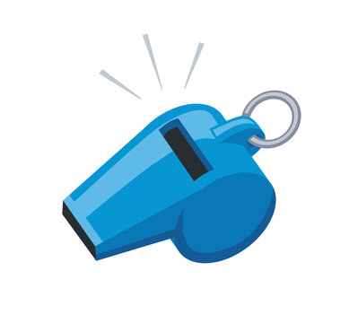 Blue sport coaches whistle icon isolated.