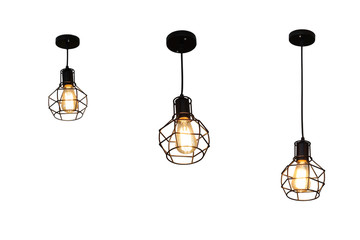 Ceiling lamp with three different length isolated