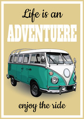 Vector illustration of vintage posters, retro a minibus for travel. Freehand drawing