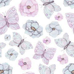 Seamless Pattern of Watercolor Flowers and Butterflies