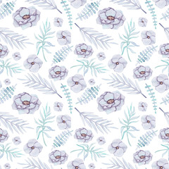 Seamless Pattern of Watercolor Flowers and Leaves