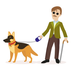 Guide-dog. Blind man with guide dog. Disability blind person concept. Flat character isolated on white background. Vector, illustration EPS10.