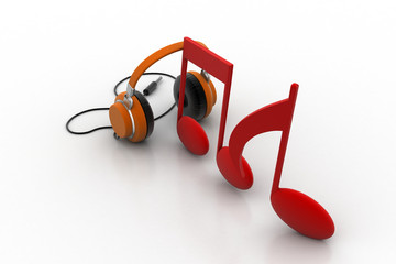Music signs with head phone