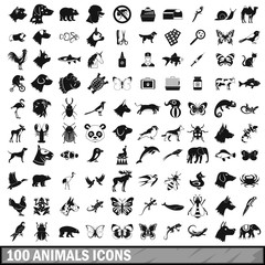 100 animals icons set in simple style