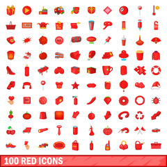 100 red icons set, cartoon style