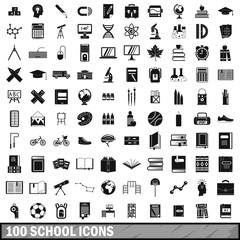 100 school icons set in simple style