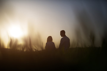 young couple at sunset in the field, silhouettes