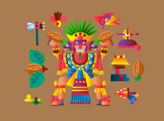 Vector illustration flat style aztec maya element collection for chocolate package design.