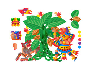 Vector illustration sketch drawing aztec cacao bean, leaves, nibs, pattern for chocolate package design.