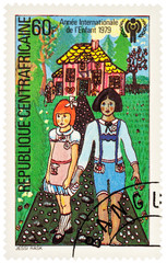 "Scene from a fairy tale ""Hansel and Gretel"" on postage stamp"
