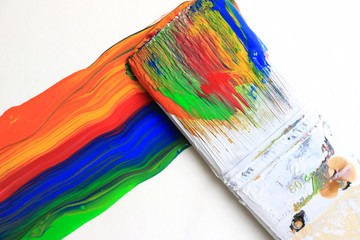 Colorful paint strokes from a paint brush.