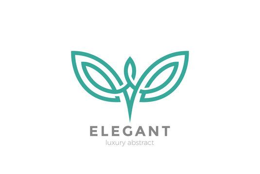 Elegant wings abstract Logo design vector. Fashion Luxury icon