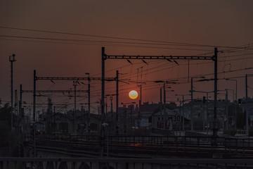 Sunset over station in Usti nad Labem