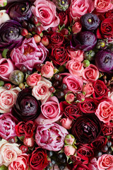 pink and red wedding flowers. floral background