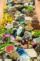 Unknown Seller selling groceries at a Dry market. Bird's eye view.