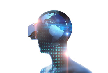 3d rendering of virtual human in VR headset on futuristic technology background