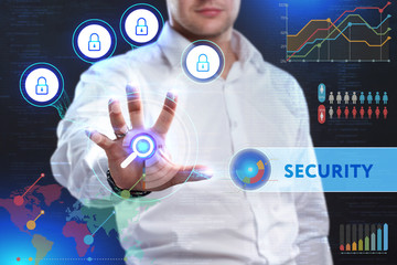 Concept of business security, safety of information from virus, crime and attack. Internet secure system. Protection system. Security