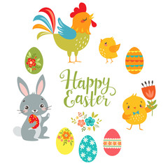 """Set of cute Easter design elements: bunny, chicks, rooster, eggs and """"Happy Easter"""" hand draw text isolated on white background."""