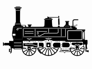 illustration steam locomotive, vector draw