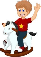 funny little boy cartoon playing rocking horse