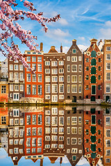 Traditional old buildings in Amsterdam spring, the Netherlands