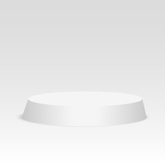 Blank template of white podium, scene. 3d illustration of blank template layout of white empty musical, theater, concert or entertainment stageVector illustration
