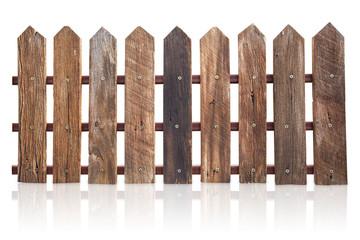 wood fence isolated on white.