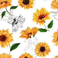 Seamless pattern with hand drawn watercolor sunflowers