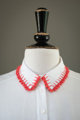 White Shirt Collar with Crocheted Red Edges