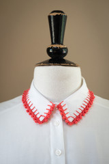 White Shirt Collar with Red Knitted Edges