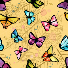 Vector seamless pattern with butterflies and leaves