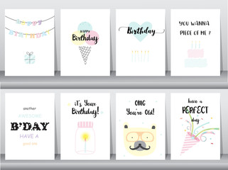 Set of birthday cards,invitation,poster,greeting,template,animals,cake,candle,poper,Vector illustrations