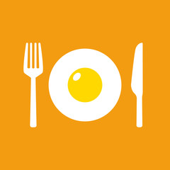 Fried egg with fork and knife vector isolated